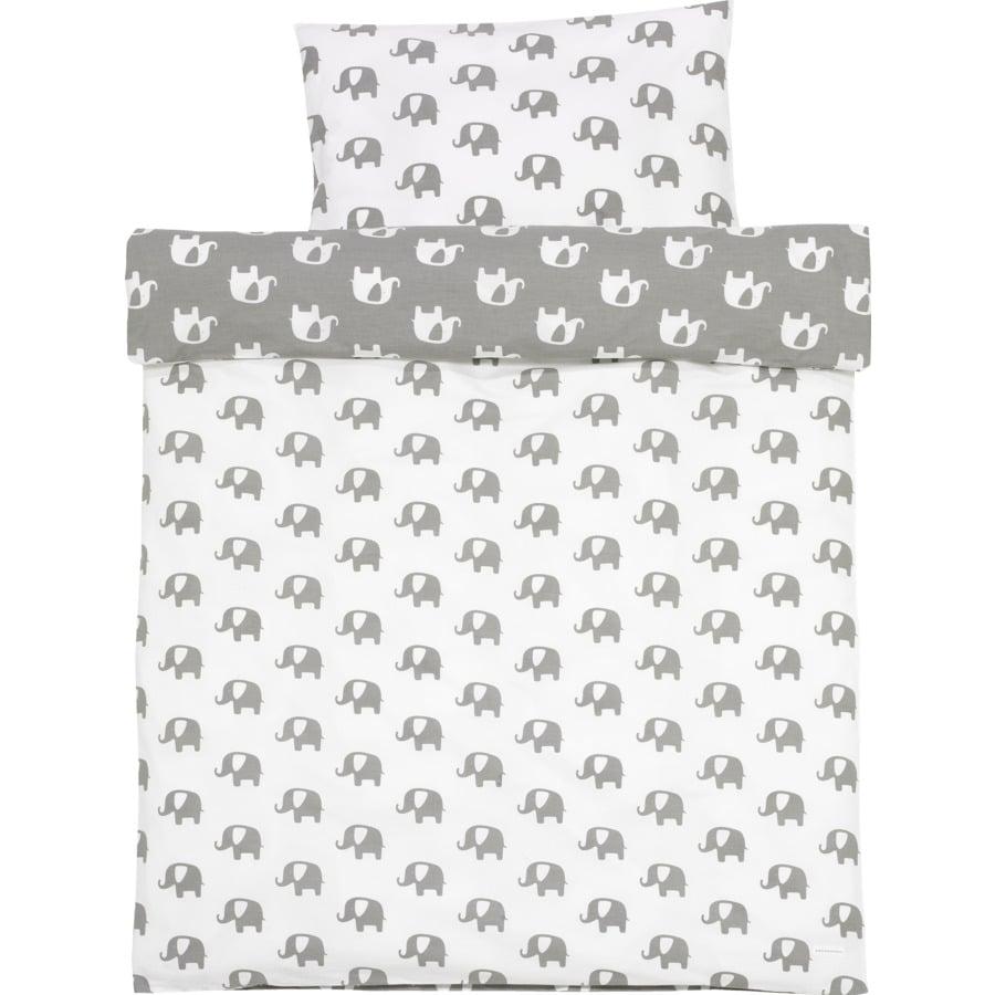 ALVI Parure de lit Bellybutton, Édition spéciale, Éléphants blancs, 100 x 135 cm, gris