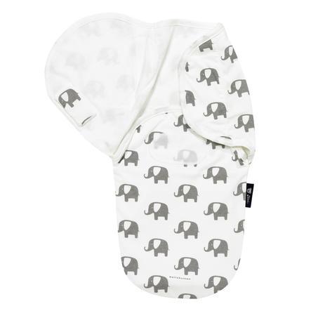 ALVI Couverture emmaillotage Harmonie Bellybutton, Éléphants, blanc