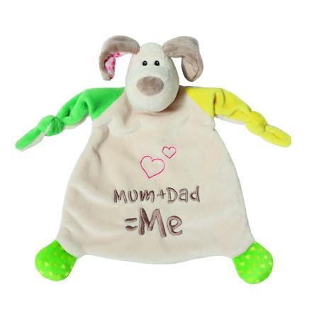 NICI My First NICI Schmusetuch Hund Mum + Dad = Me, 25 x 25 cm 40037