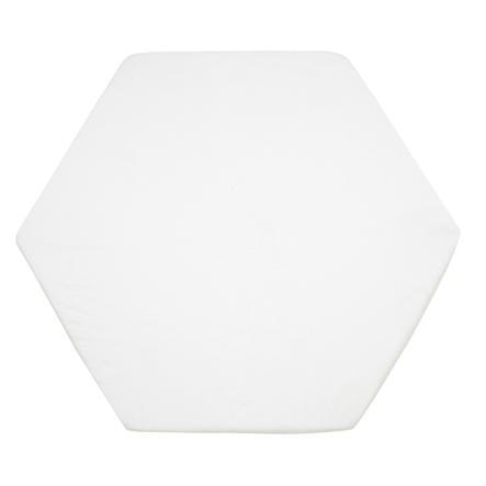 Alvi Drap-housse 115 cm tricoté, blanc, pour matelas de parc hexagonaux, octogonaux