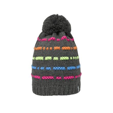 DÖLL Bonnet à pompon tricoté, mélange anthracite/multicolore