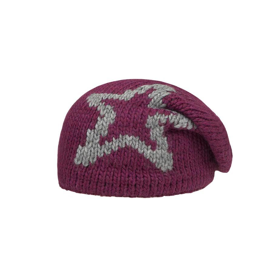 Döll Girl s dzianinowy kapelusz gwiazda ciemno czerwony