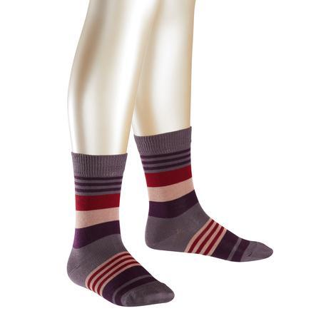FALKE Chaussettes à rayures irrégulières gris-prunier
