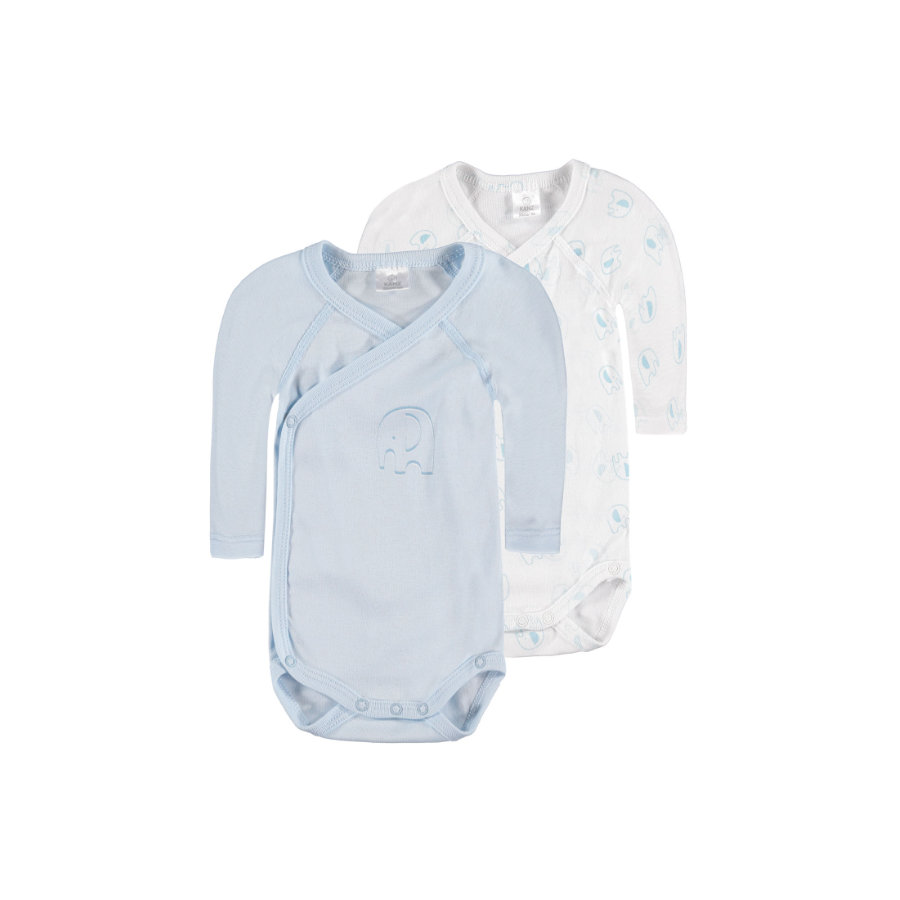 KANZ Baby Bodies 1/1 Arm 2er Pack weiss/blau