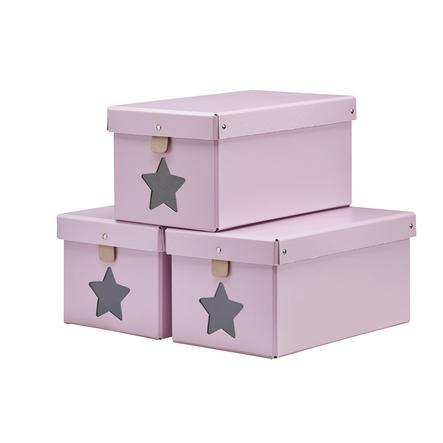 Kids Concept Krabice na boty růžová, 3 ks