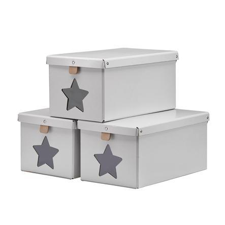 KIDS CONCEPT Boîte à chaussures, lot de 3, gris