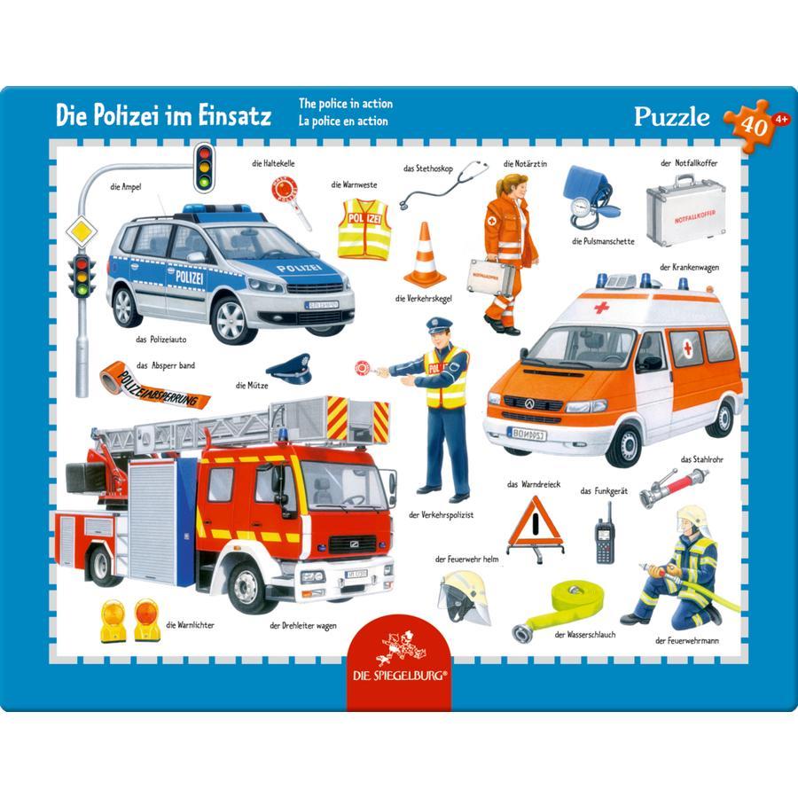 SPIEGELBURG COPPENRATH Rahmenpuzzle - Polizei im Einsatz, 40 Teile