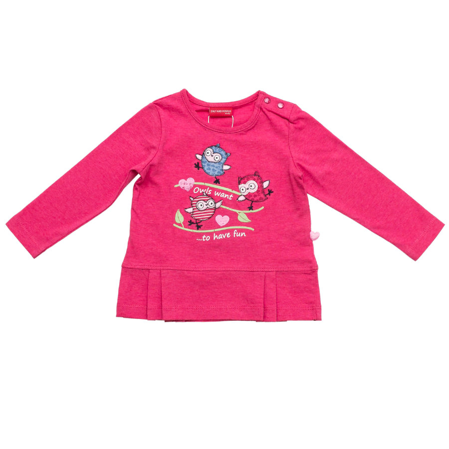 SALT AND PEPPER Girls Longsleeve Smart Owl fun raspberry