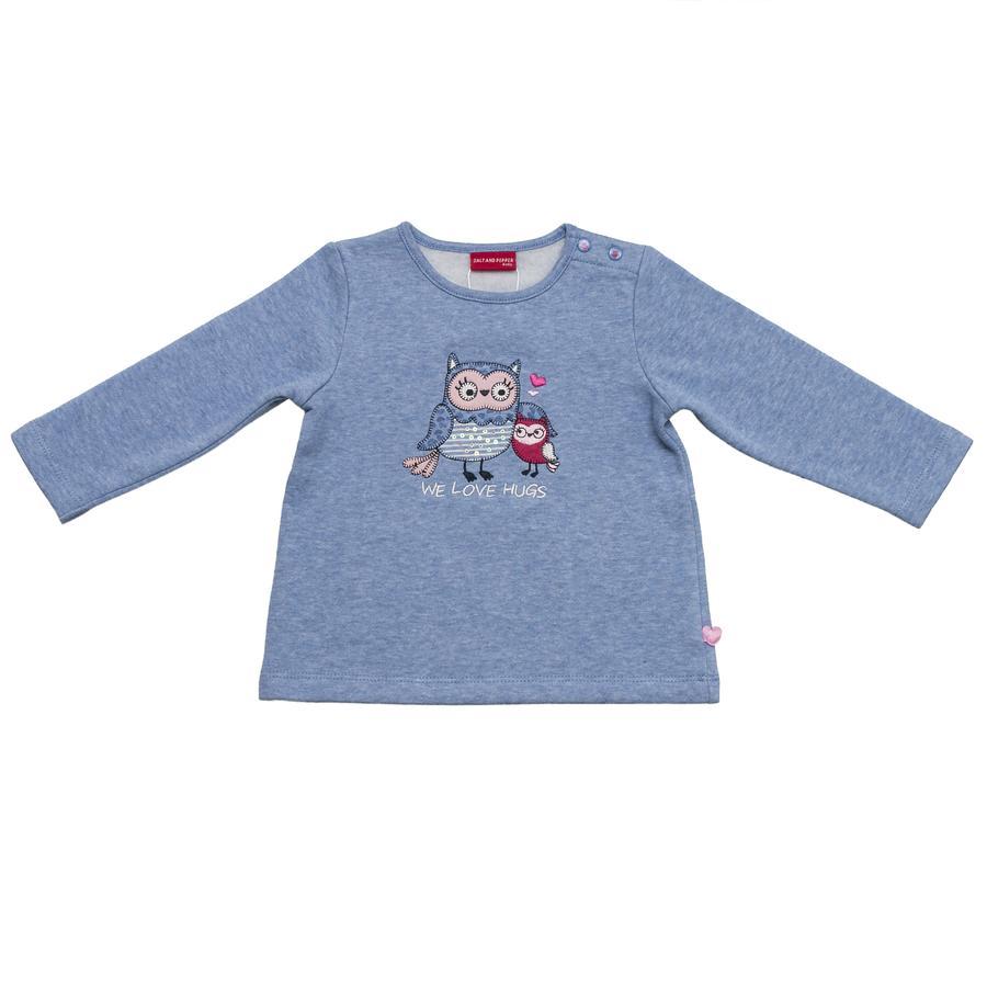 SALT AND PEPPER Girls Sweatshirt smart owl we love himmelblau