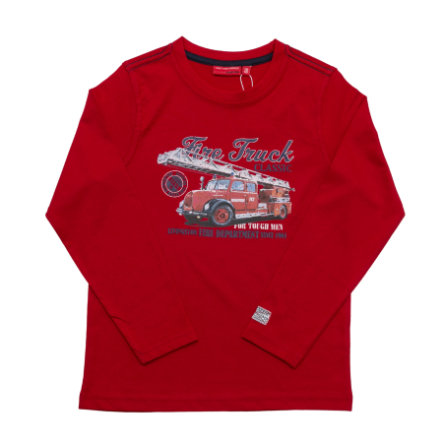 SALT AND PEPPER Boys Longsleeve Firefighter Truck tomato red