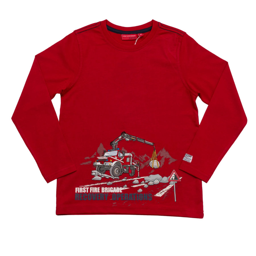 SALT AND PEPPER Boys Longsleeve Firefighter first tomato red