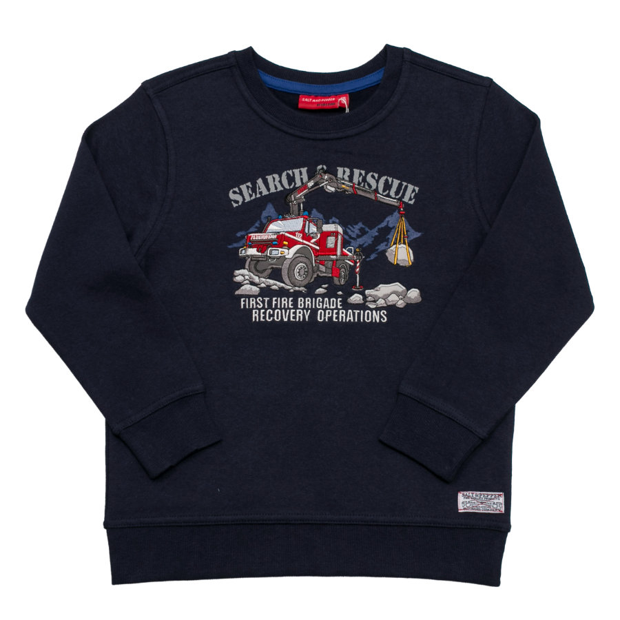 SALT AND PEPPER Boys Sweatshirt Pompier Equipe de Sauvetage Pompiers cobalt