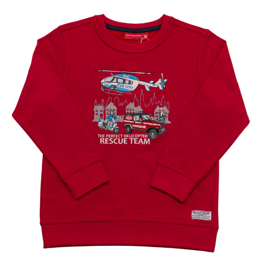 SALT AND PEPPER Boys Sweatshirt Firefighter Team tomato red
