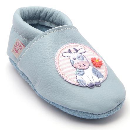 TROSTEL Girl s Chaussure de marche à quatre pattes vache avec fleur bleu clair