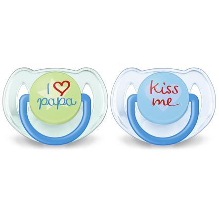 Philips Avent Schnuller Klassik SCF172/71, 6 - 18 Monate, 2 Stück, Kiss Me / I love Papa - Blau