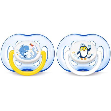 Philips Avent Schnuller Freeflow SCF186/24, ab 18 Monaten, 2 Stück, Blau - Pinguin/Wal
