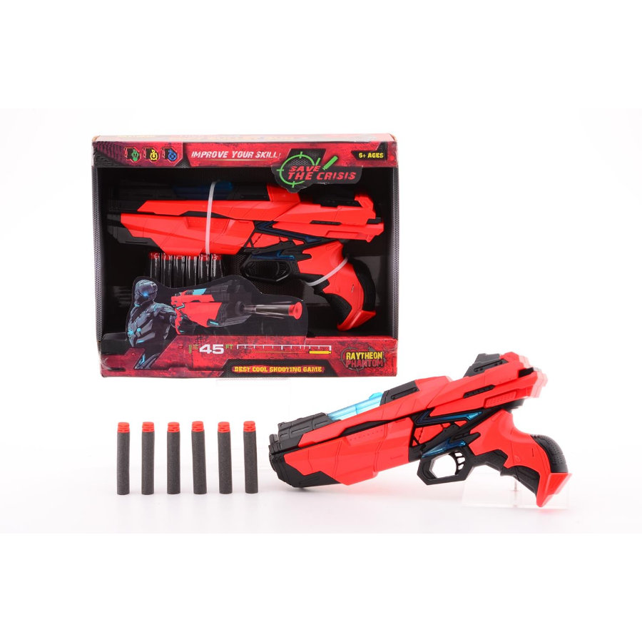 JOHNTOY Shooter Serve & Protect Medium, 29 cm, 6 fléchettes et lumières