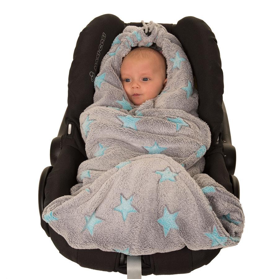 Hoppediz Fleecová zavinovací deka šedo-modrá hvězdičky
