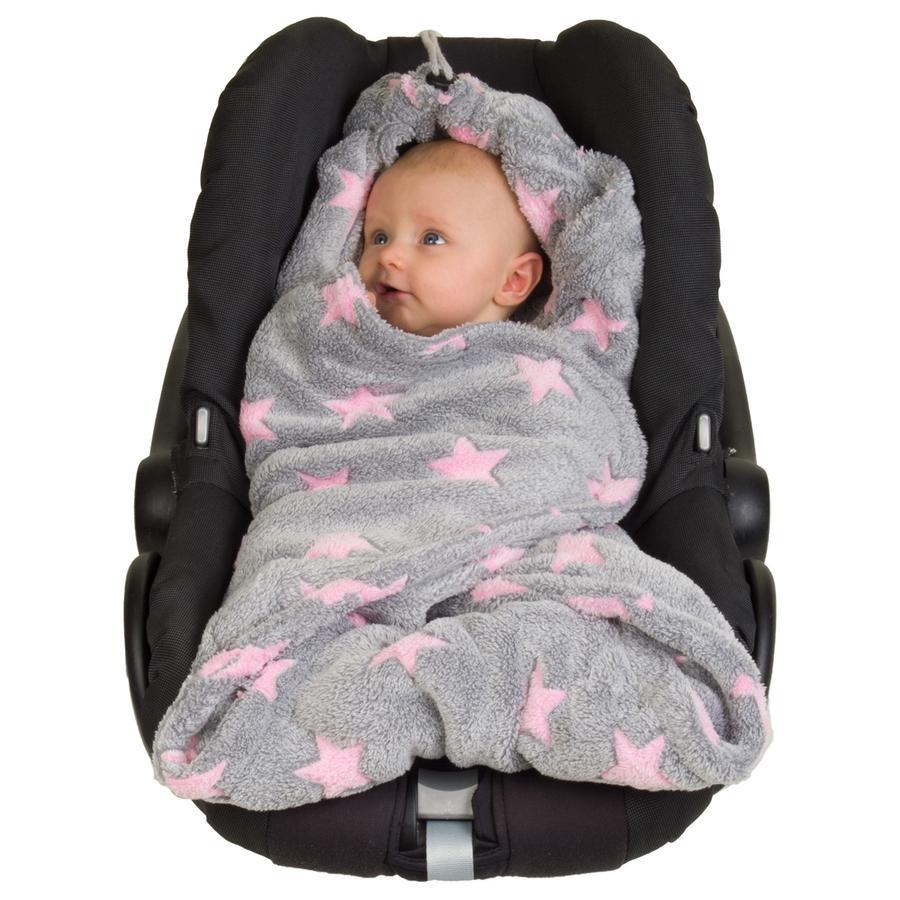 Hoppediz Fleecová zavinovací deka šedo-pink hvězdičky