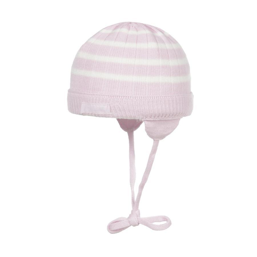 Döll Girl berretto in maglia a righe rosa/bianco