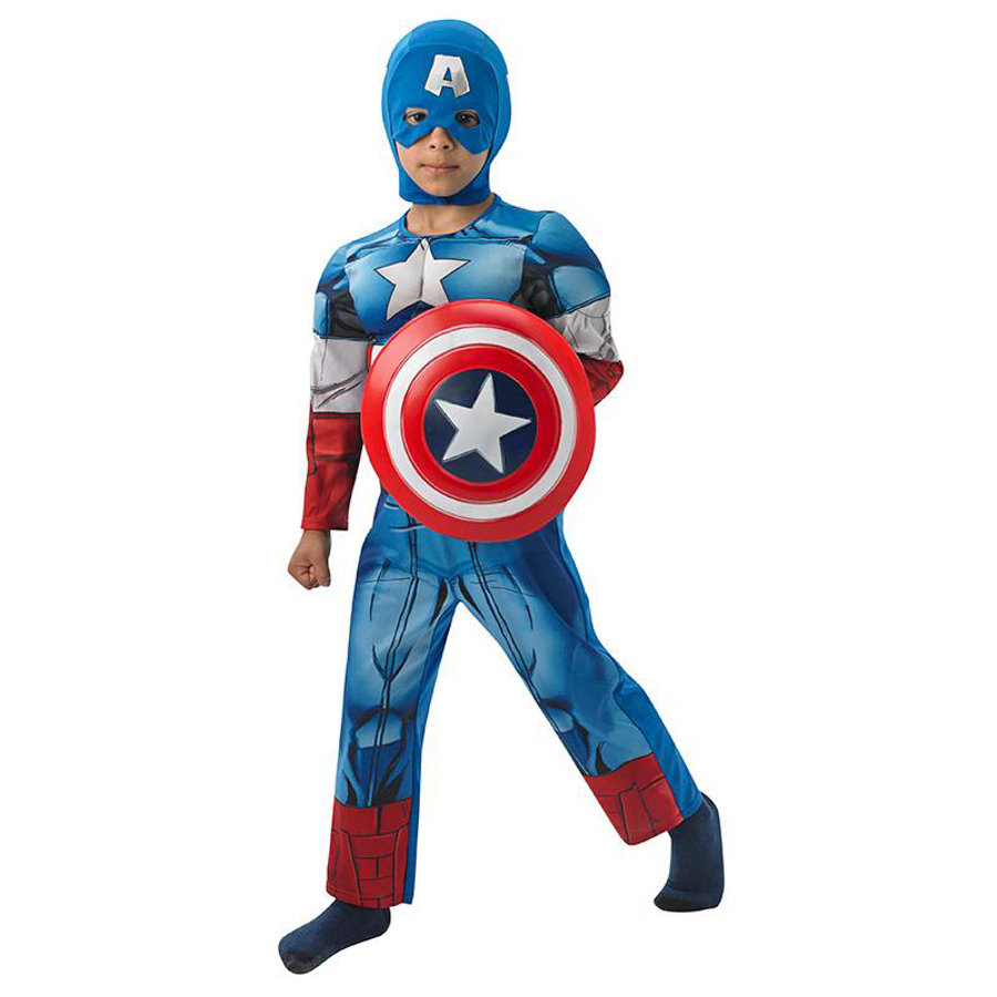 Rubies Maskeradkostym Captain America Deluxe Dräkt