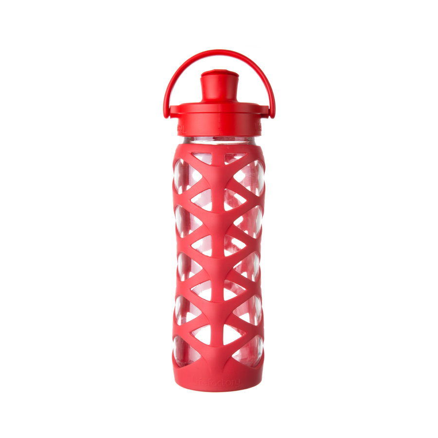 lifefactory Glazen Drinkfles Active Flip Top Cap charged red 650 ml