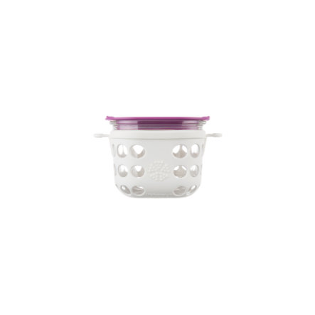 LIFEFACTORY Lasinen eväsrasia 475 ml, Optic White / Huckleberry