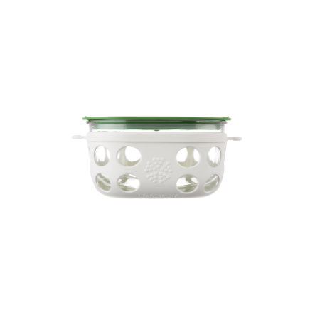 LIFEFACTORY Lasinen eväsrasia 950 ml, Optic White / Grass Green