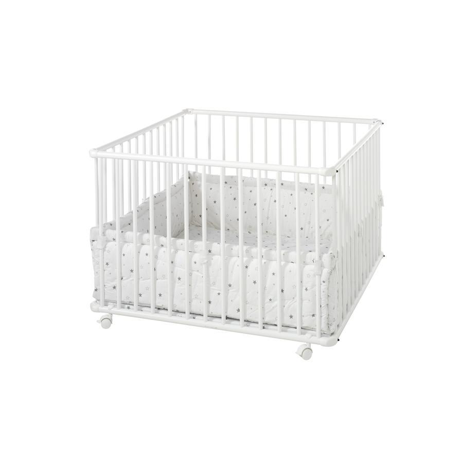 Schardt Parque infantil Basic Blanco 100 x 100 con acolchado de estrellitas grises