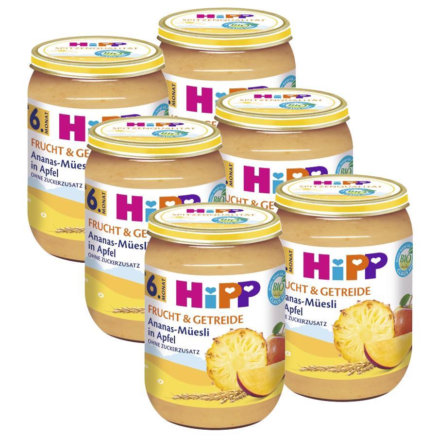 HiPP Frucht und Getreide Ananas-Müsli in Apfel 6 x 190 g