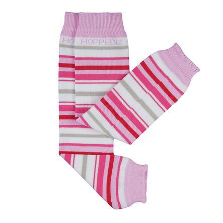 Hoppediz Zakolanówki bez stópek biały, różowe paski