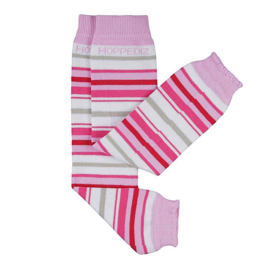 Hoppediz Babystulpen weiß mit rosa und pinken Streifen