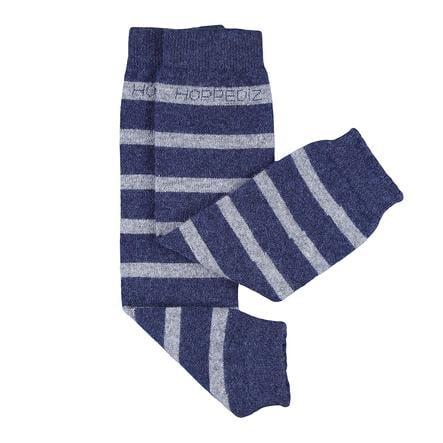 Hoppediz® merino/kashmir baby leggvarmere blå med grå striper