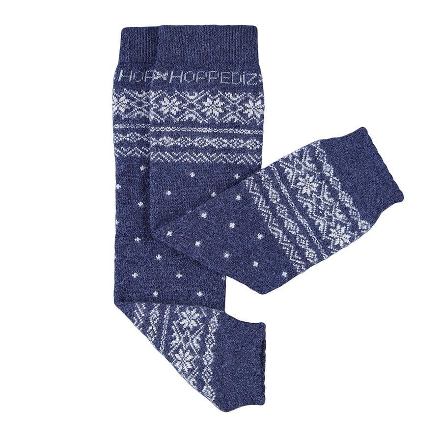 Hoppediz Jambières bébé mérinos/cachemire style norvégien bleu