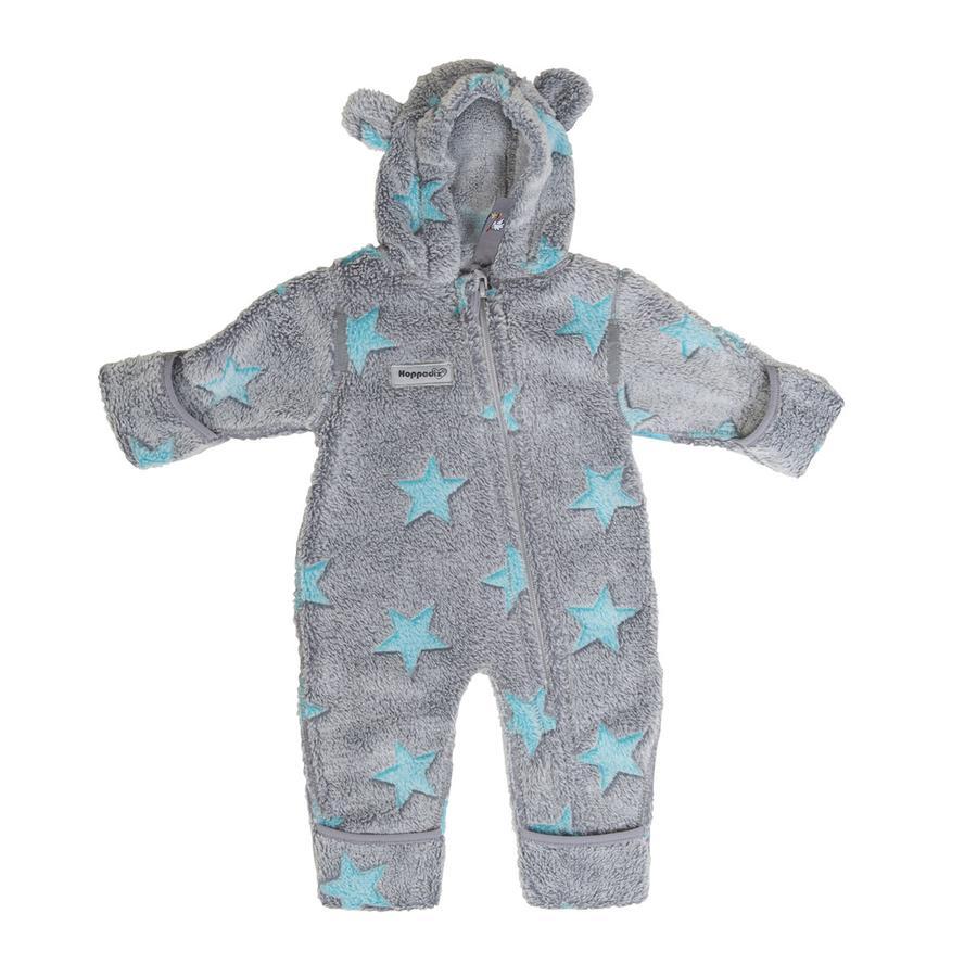 Hoppediz Fleece-Overall grijsblauw met sterren