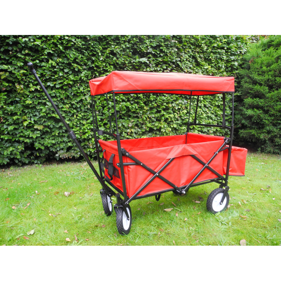 bieco Vouwbare Bolderkar met regenhoes, rood