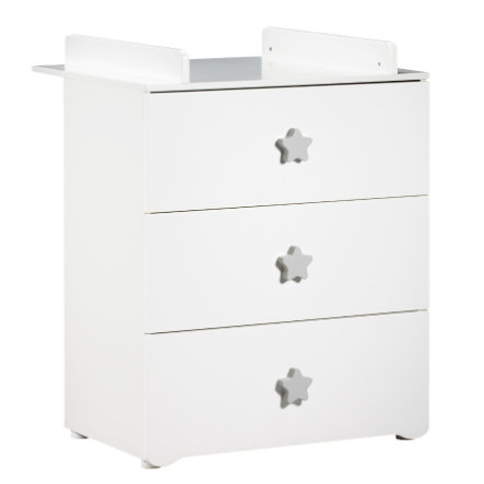 BABY PRICE Commode à langer New Basic 3 tiroirs, boutons étoile gris