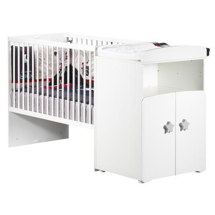 BABY PRICE Lit bébé combiné évolutif New Basic 120 x 60 cm, en 90 x 190 cm, boutons étoile gris