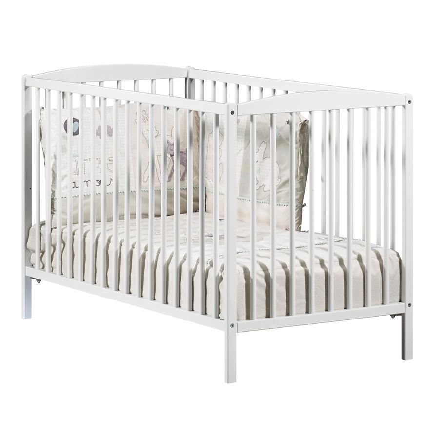 Baby Price Lit bébé à barreaux New Leaf 3 positions, 60 x 120 cm, blanc