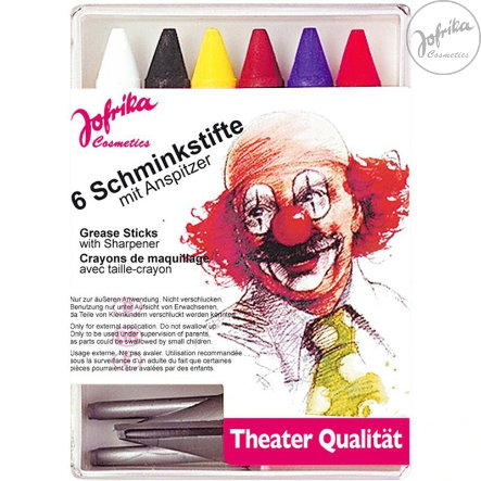 Jofrika Crayons de maquillage Carnaval, 6 pièces, taille-crayon