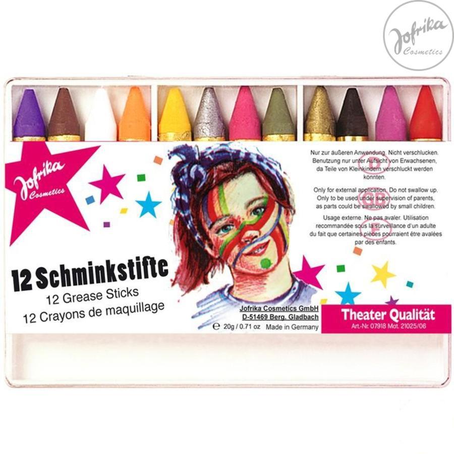 Jofrika Crayons de maquillage Carnaval, 12 pièces
