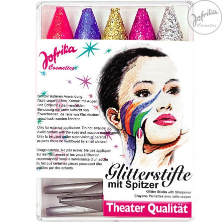 Jofrika Schminke Karneval Glitter Make-up Sticks