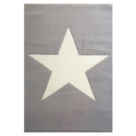LIVONE Tapis enfant Happy Rugs Big Star gris