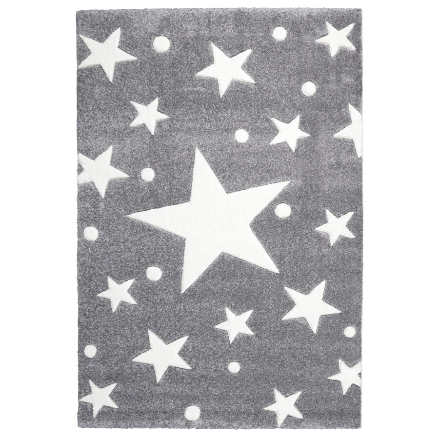 livone kinderteppich happy rugs stars silbergrau 160 x 230 cm. Black Bedroom Furniture Sets. Home Design Ideas