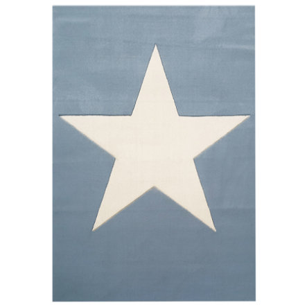 LIVONE Tapis enfant Happy Rugs Big Star bleu clair