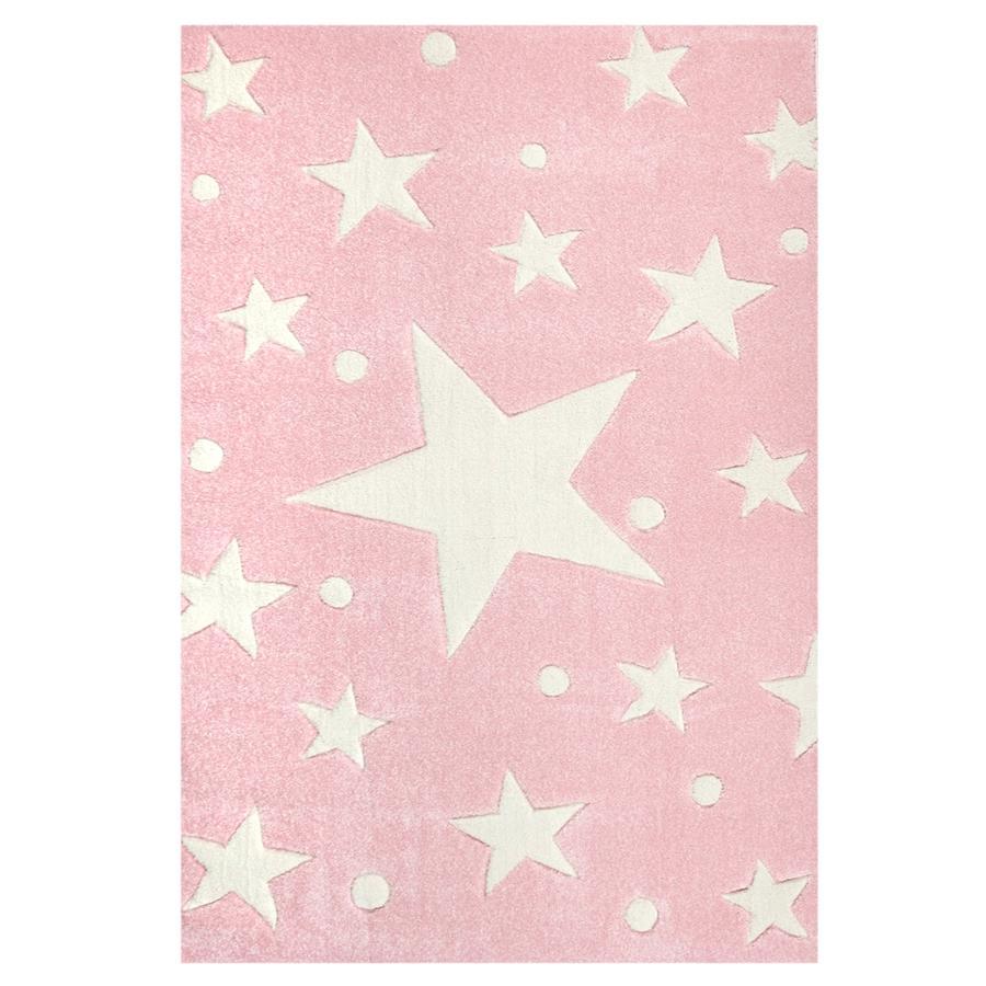 LIVONE Happy Rugs Lastenhuoneen matto, Stars/vaaleanpunainen, 120 x 180 cm
