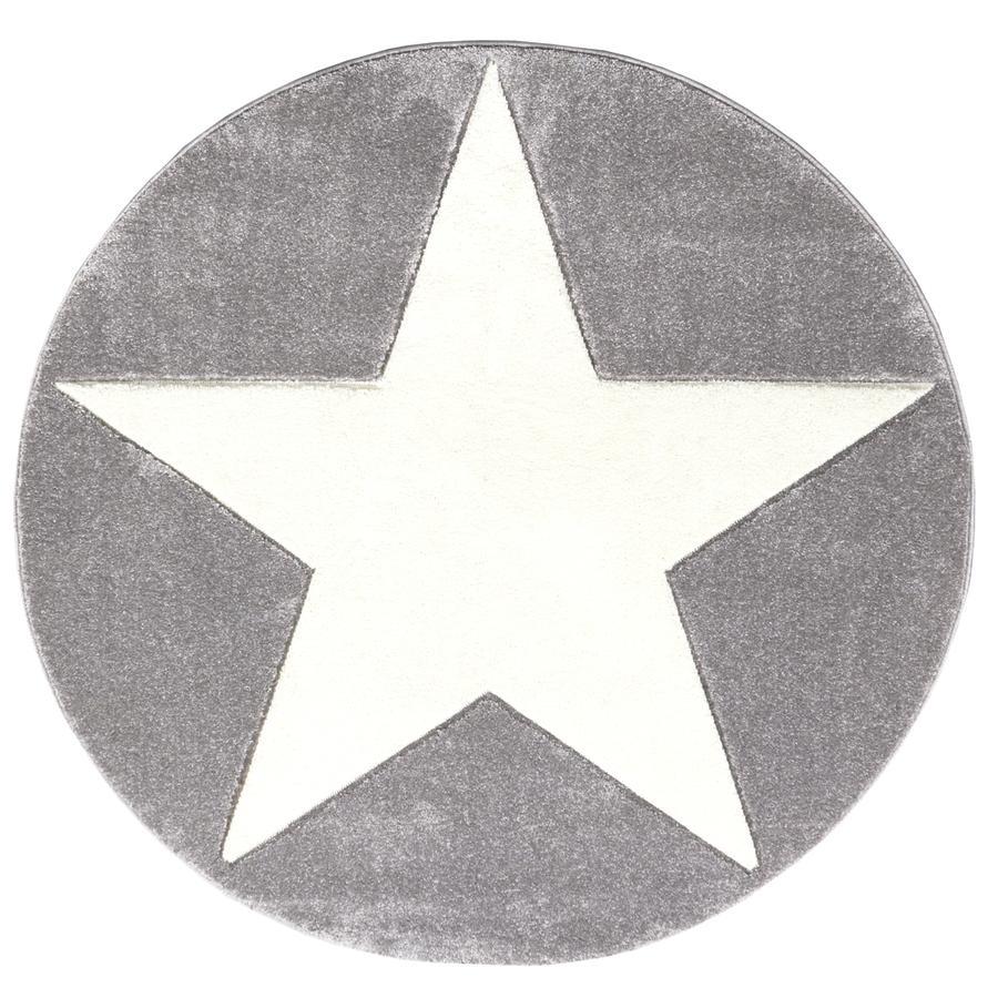 LIVONE Kinderteppich Happy Rugs Star silbergrau 133 cm rund
