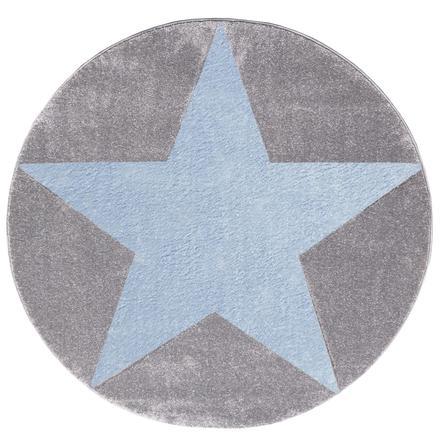 livone spiel und kinderteppich happy rugs star silbergrau blau 160 cm rund. Black Bedroom Furniture Sets. Home Design Ideas