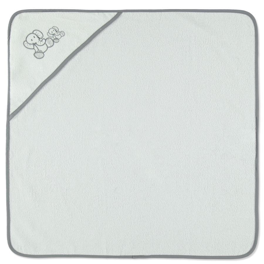 HÜTTE & CO Kapuzenbadetuch Elefant weiß 75 x 75 cm