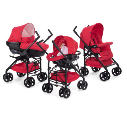 chicco Poussette Trio Travel System Sprint black, Kit Car red passion